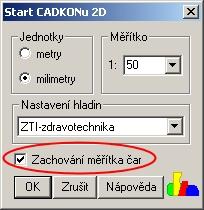 CADKON 2D - Podpora pro jednoduché nastavení měřítka čar
