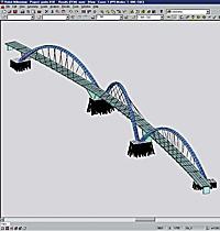 Most Juscelina Kubitska přes jezero Paraná, architekt Alexandre Chan, pevnostní analýza Mário Vila Verde v software Robobat.